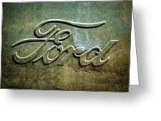 1912 Ford Hood Ornament - Emblem -0496bw Greeting Card