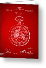 1916 Pocket Watch Patent Red Greeting Card