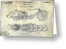 1939 Motorcycle Patent Drawing Greeting Card