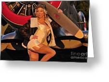 1940s Style Aviator Pin-up Girl Posing Greeting Card