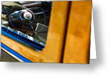 1950 Ford Custom Deluxe Woodie Station Wagon Steering Wheel Emblem Greeting Card by Jill Reger