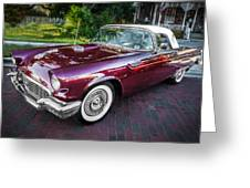 1957 Ford Thunderbird Convertible Painted    Greeting Card