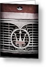 1958 Maserati Hood - Grille Emblem Greeting Card
