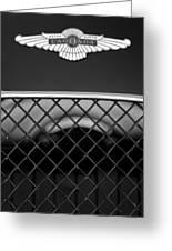1959 Aston Martin Jaguar C-type Roadster Hood Emblem Greeting Card