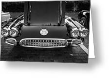 1959 Chevy Corvette Convertible Bw  Greeting Card