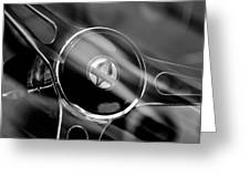1965 Ford Mustang Cobra Emblem Steering Wheel Greeting Card