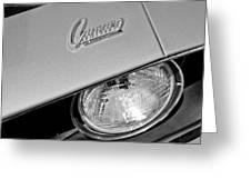1969 Chevrolet Camaro Headlight Emblem Greeting Card