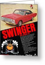 1969 Dodge Dart Swinger 340 Greeting Card