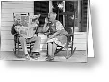 1970s Elderly Couple In Rocking Chairs Greeting Card