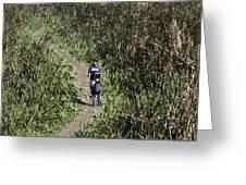 2 Photographers Walking Through Tall Grass Greeting Card