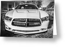 2014 Dodge Charger Rt Painted Bw Greeting Card