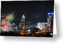 4th Of July Firework Over Charlotte Skyline Greeting Card by Alex Grichenko