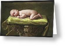 A Baby Asleep On A Pillar Greeting Card