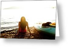 A Beautiful Young Woman Relaxes Greeting Card