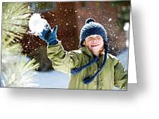 A Boy Throws A Snowball While Playing Greeting Card