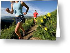 A Couple Trail Running Greeting Card