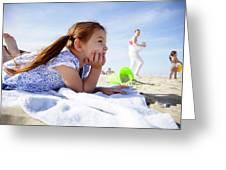A Cute Little Hispanic Girl In A Summer Greeting Card
