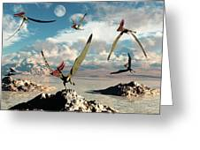 A Flock Of Thalassodromeus Pterosaurs Greeting Card