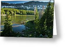 A Fly Fisherman Fishes A High Alpine Greeting Card