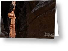 A Glimpse Of Al Khazneh From The Siq In Petra Jordan Greeting Card