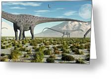 A Herd Of Diplodocus Sauropod Dinosaurs Greeting Card