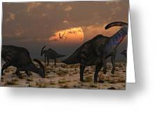 A Herd Of Parasaurolophus Dinosaurs Greeting Card