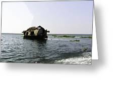 A Houseboat Moving Placidly Through A Coastal Lagoon In Alleppey Greeting Card