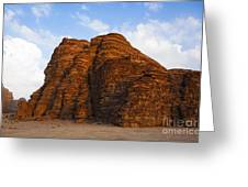 A Landscape Of Rocky Outcrops In The Desert Of Wadi Rum In Jordan Greeting Card