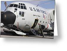 A Lc-130h Hercules Of The New York Air Greeting Card by Timm Ziegenthaler