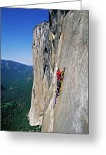 A Man Aid Climbing Greeting Card