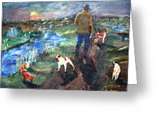 A Man And His Dogs Greeting Card