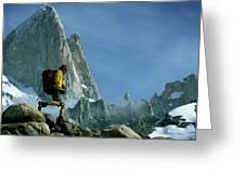 A Man Backpacks In Front Of Fitz Roy Greeting Card