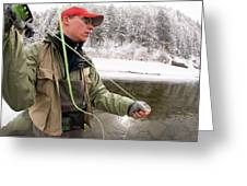 A Man Fly Fishing On The Cache La Greeting Card