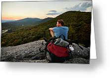 A Man Hikes Along The Appalachian Trail Greeting Card