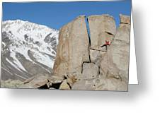 A Man Sport Climbs In Bishop Greeting Card