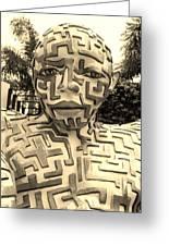 1 A Maze Ing Man Sepia Greeting Card