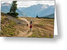 A Mother And Daughter Mountain Biking Greeting Card