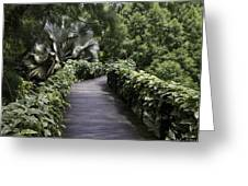 A Raised Walking Path Inside The National Orchid Garden In Singapore Greeting Card