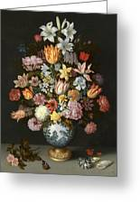 A Still Life Of Flowers In A Wan Li Vase Greeting Card