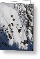 A Telemark Skier In A Narrow Chute Greeting Card