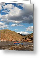 A Whitewater Rafters Rows His Boat Greeting Card