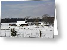 A Wintery View Of A Farm On Goode Street Greeting Card