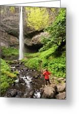 A Woman Admires Latourel Falls On June Greeting Card