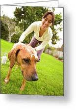 A Woman Gives Her Rhodesian Ridgeback Greeting Card