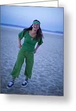 A Woman Having Fun On The Cracked Earth Greeting Card
