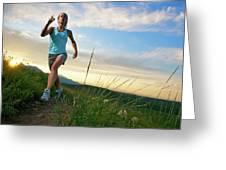 A Woman Trail Running Near Boulder, Co Greeting Card