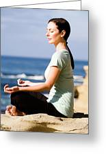 A Women Meditates On The Beach Greeting Card