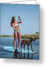 A Young Woman And Her Dog Sup Greeting Card