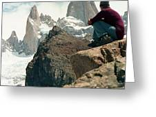 A Young Woman Gazes At Cerro Fitzroy Greeting Card