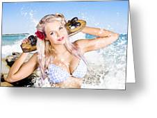 Active Sexy Summer Beach Babe With Skateboard Greeting Card